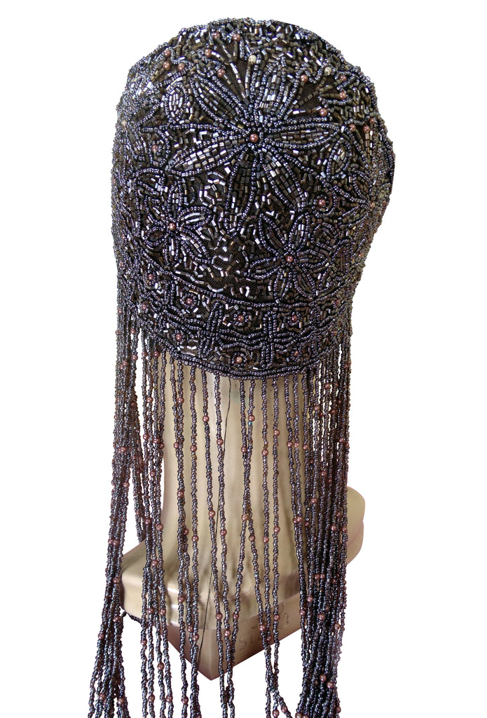 1920s Hand Beaded Gatsby Flapper Party Cap - Long Fringe - Cocoa Brown - The Deco Haus