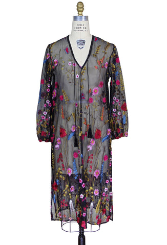 Vintage Printemps Floral Embroidered Kaftan - Black