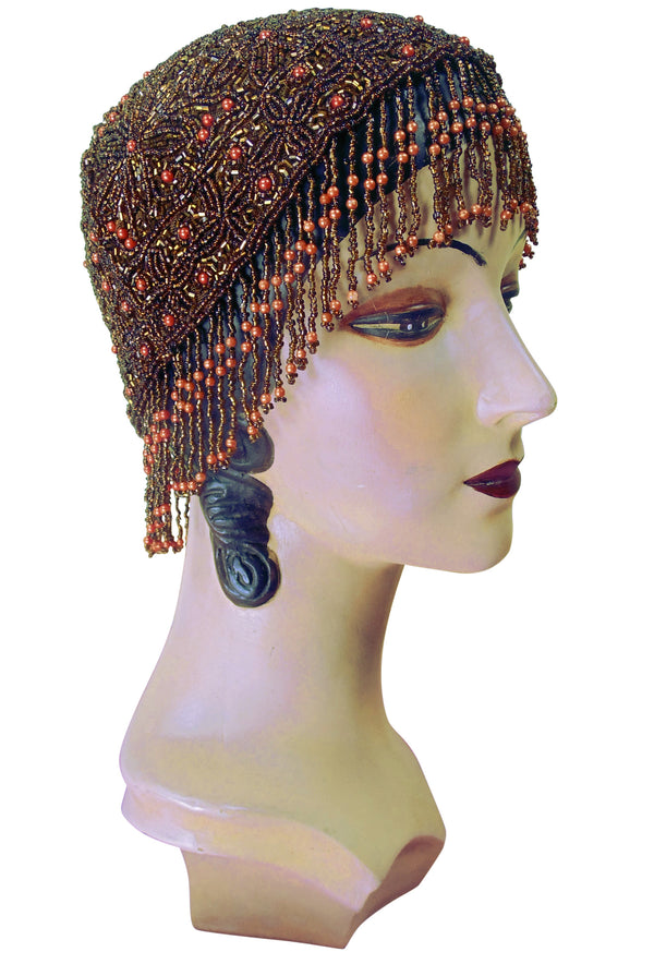 1920s Hand Beaded Gatsby Flapper Party Cap - Short Fringe - Copper - The Deco Haus