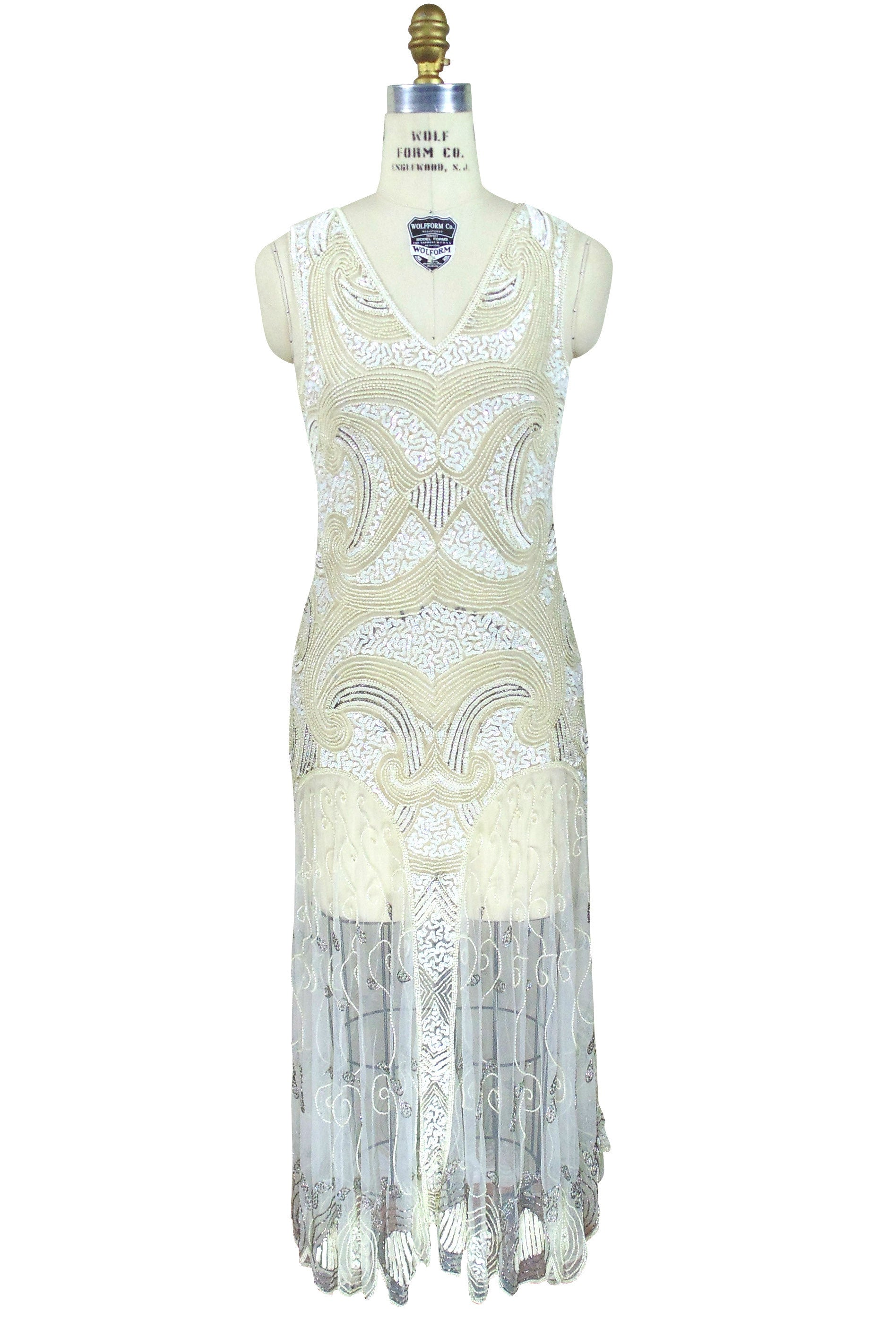 Art Deco Vintage Reproduction 1920u0027s Gown   The Cosmos   Ivory   The Deco  Haus ...