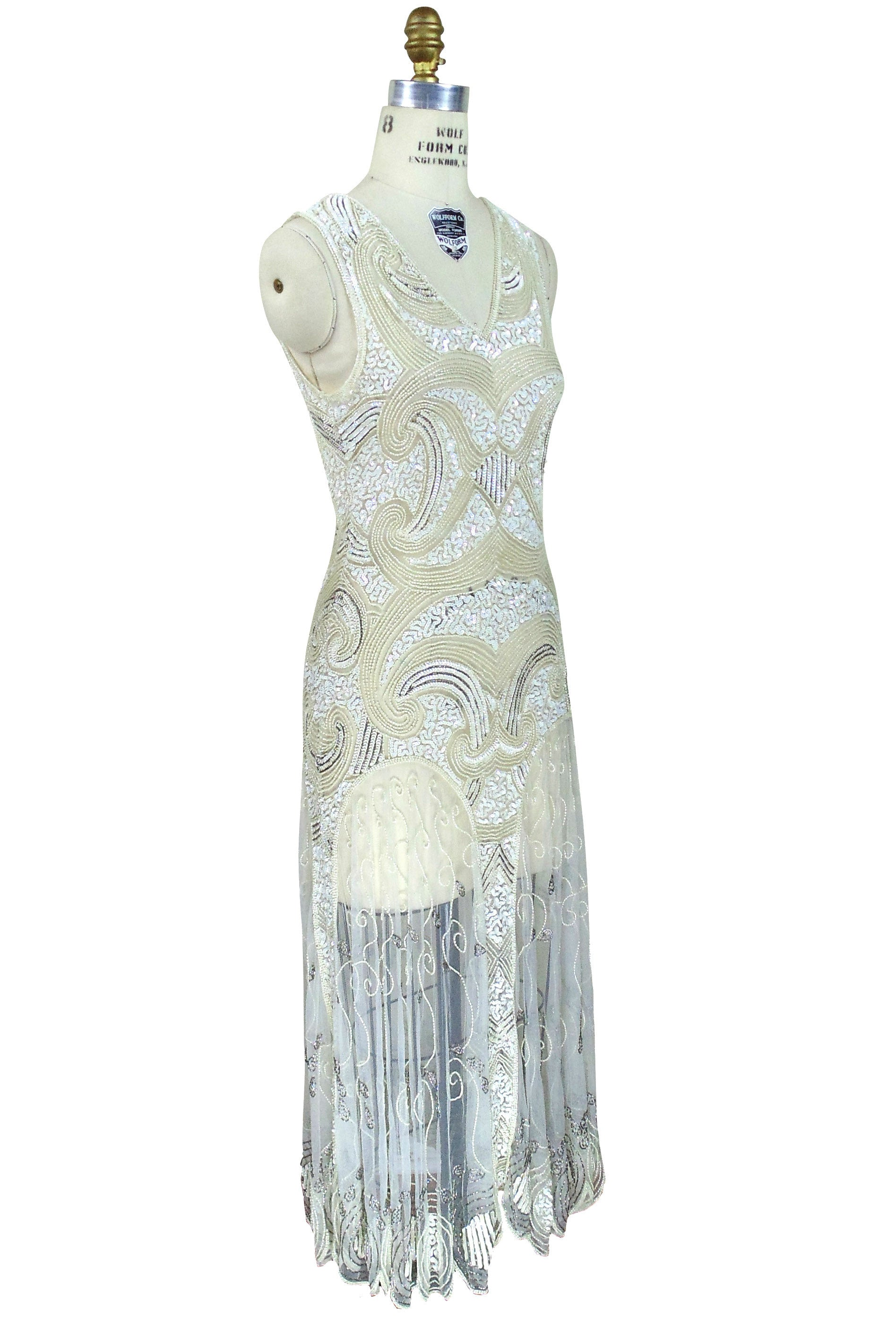 Captivating ... Art Deco Vintage Reproduction 1920u0027s Gown   The Cosmos   Ivory   The Deco  Haus ...