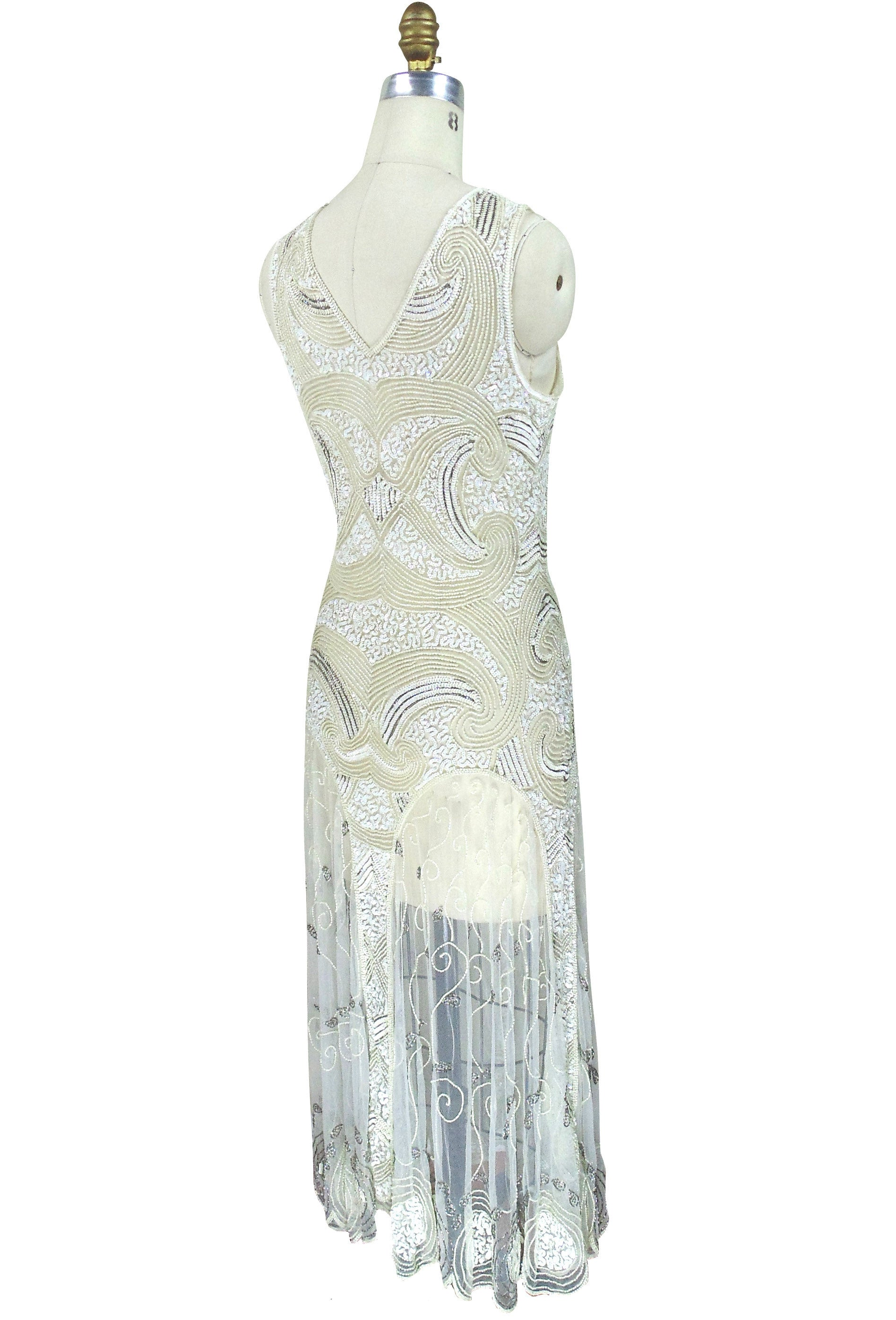 Charming ... Art Deco Vintage Reproduction 1920u0027s Gown   The Cosmos   Ivory   The Deco  Haus