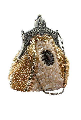 1920's Inspired Gatsby Beaded Teardrop Evening Purse - Cream Gold