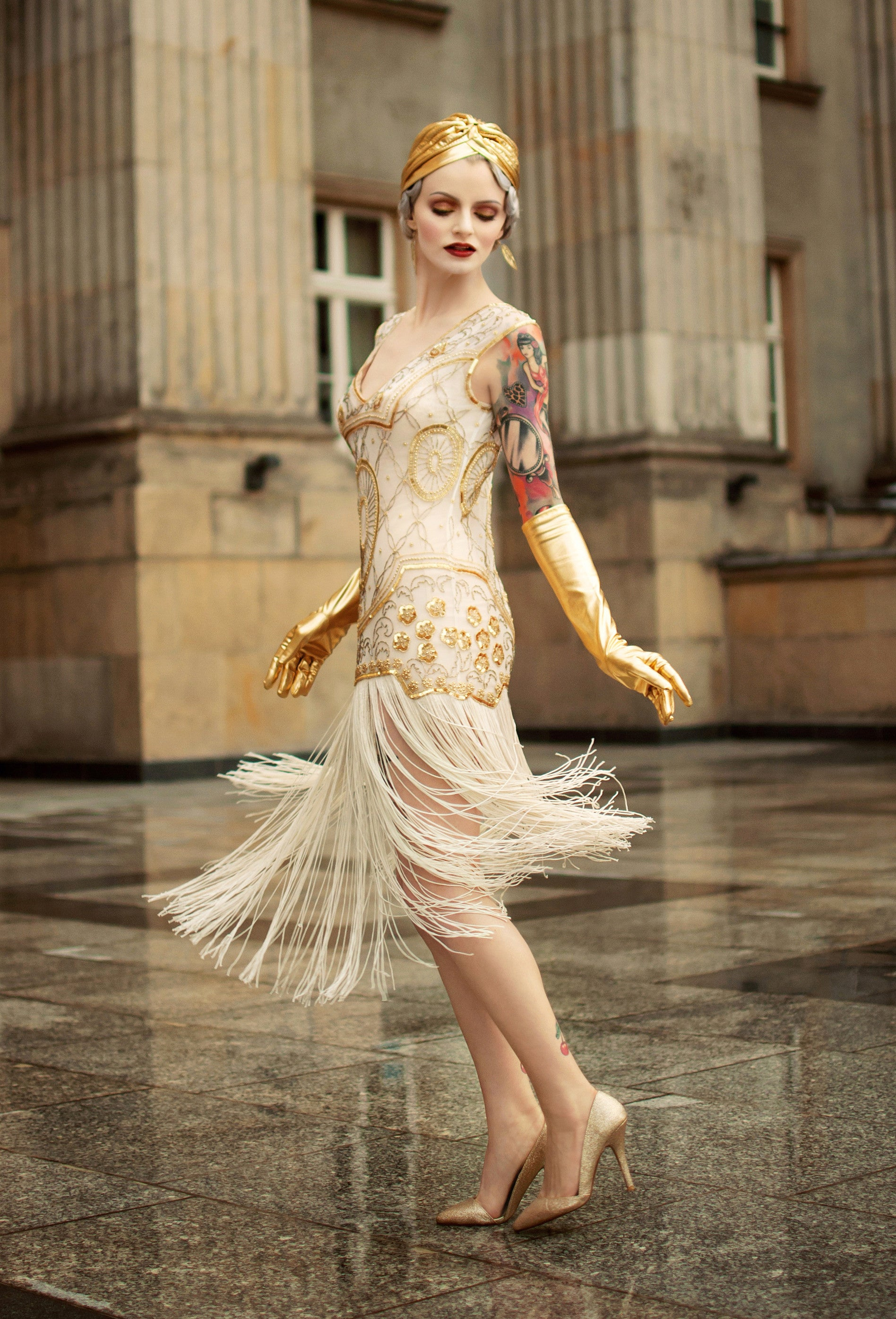 ... 1920s Gatsby Flapper Fringe Party Dress   The Lulu   Pearl Gold   The Deco  Haus