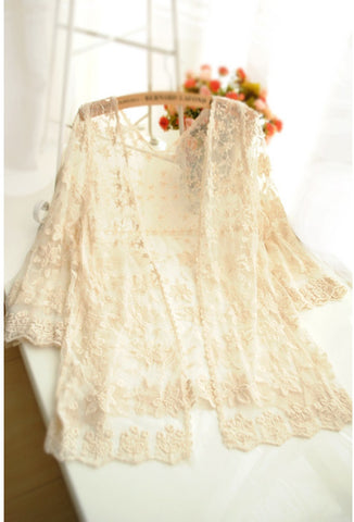 Cream 1920's Inspired Vintage Lace Open Front Jacket