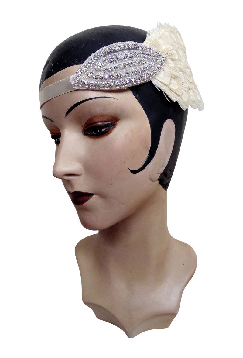 Creme Ostrich Art Deco Vintage Style Wedding Headband Bandeau - The Deco Haus