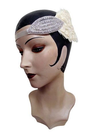 Creme Ostrich Art Deco Wedding Headband Bandeau