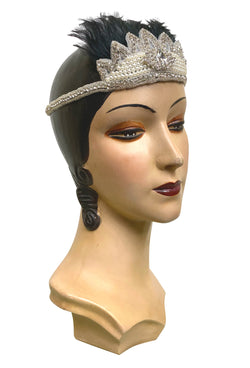 Crown Ostrich Art Deco Vintage Style Wedding Headband - Black