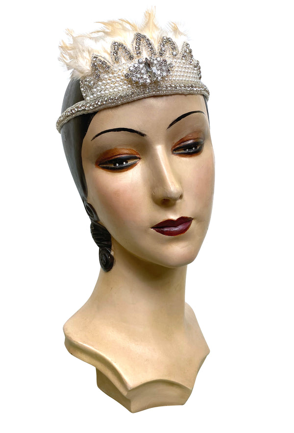 Crown Ostrich Art Deco Vintage Style Wedding Headband - Champagne Ivory