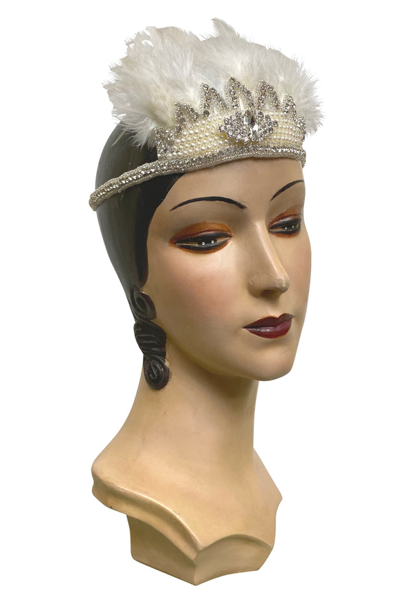 Crown Ostrich Art Deco Vintage Style Wedding Headband - Ivory