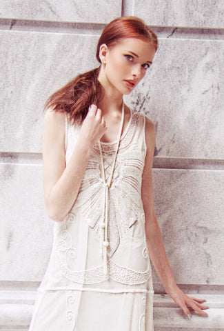 The Gatsby Rope Flapper 1920's Belt Necklace - Crystal White - The Deco Haus