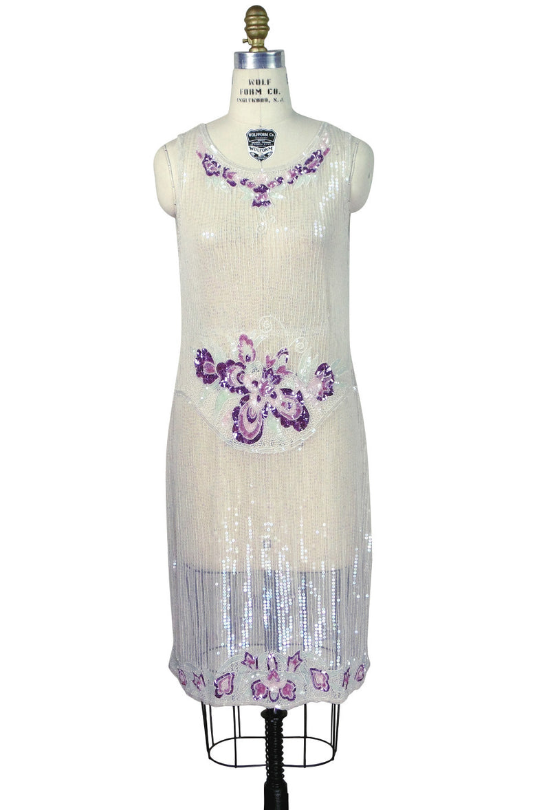 20's Vintage Beaded Mesh Gatsby Gown - The Vintage Bouquet - Crystal - The Deco Haus