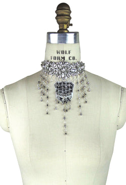 Crystal Art Deco Ribbon Festoon Vintage Wedding Choker Necklace - The Deco Haus