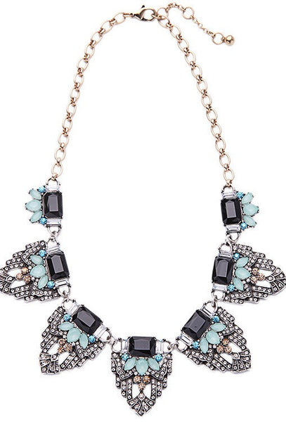 The Art Deco Statement Vintage Crystal Necklace - Aqua Jet - The Deco Haus