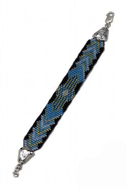 Deco Haus Special Edition Hand-Beaded Vintage Silver Bracelet - Black & Blue - The Deco Haus