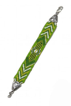 Deco Haus Special Edition Hand-Beaded Vintage Silver Bracelet - Nile Green - The Deco Haus