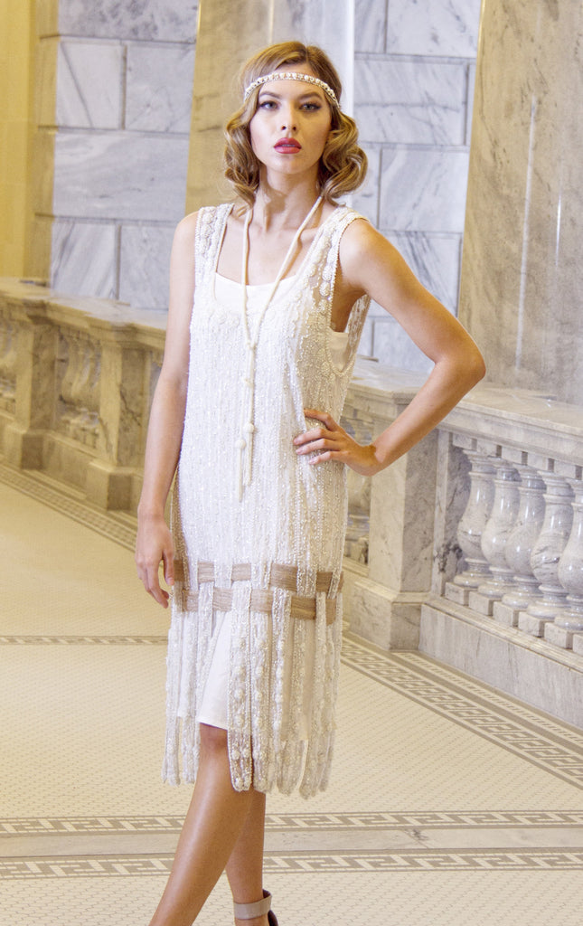 Downton Abbey Inspired Dresses Vintage 1920s Art Deco Beaded Carwash Panel Dress - The Debutante - Crystal $379.95 AT vintagedancer.com