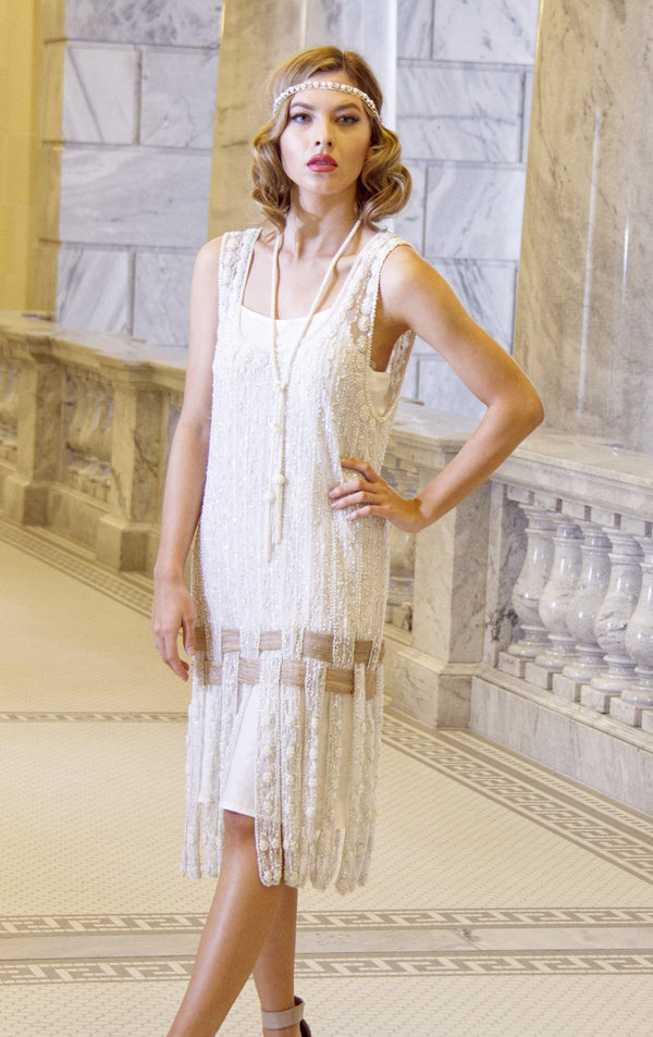Vintage 1920s Art Deco Beaded Carwash Panel Dress - The Debutante - Crystal - The Deco Haus