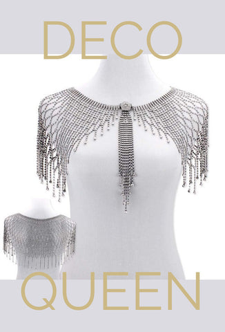 The Deco Queen Capelet - Antique Silver