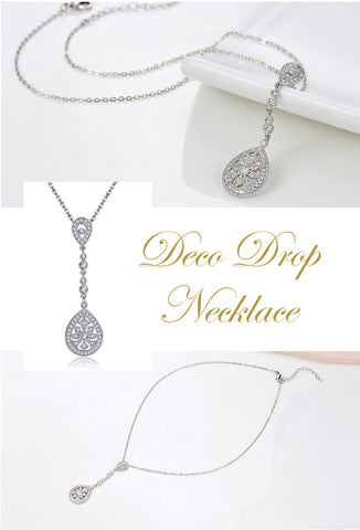 Art Deco Drop Bridal Pave Necklace