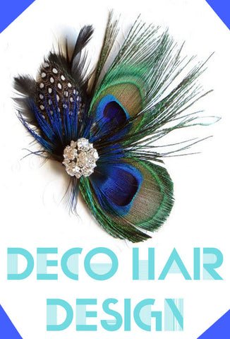 Peacock Rhinestone Flapper Fascinator Hair Clip