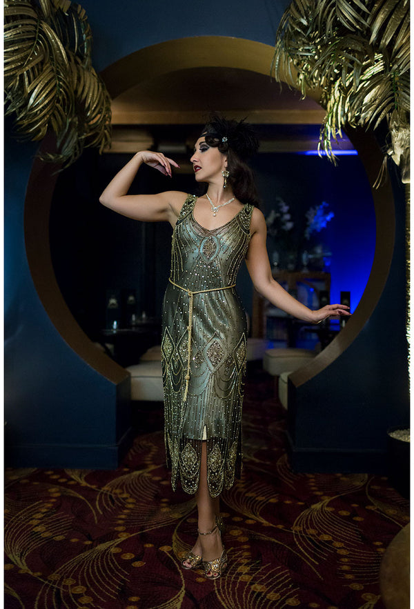 1920's Flapper Carwash Hem Beaded Party Dress - The Starlet - Midi - Gold on Black