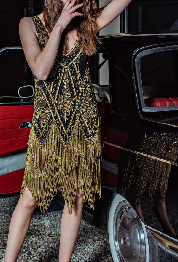 1920's Vintage Flapper Beaded Fringe Gatsby Gown - The Icon - Black Deco Bronze
