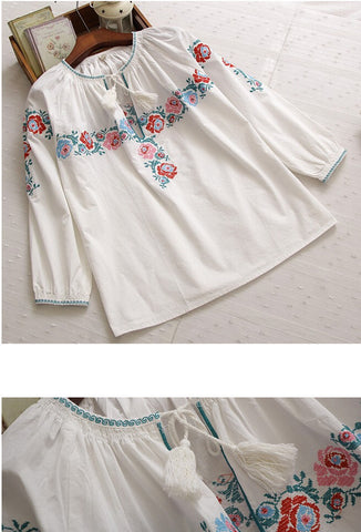 Romantic Embroidered Tassel Peasant Top - White