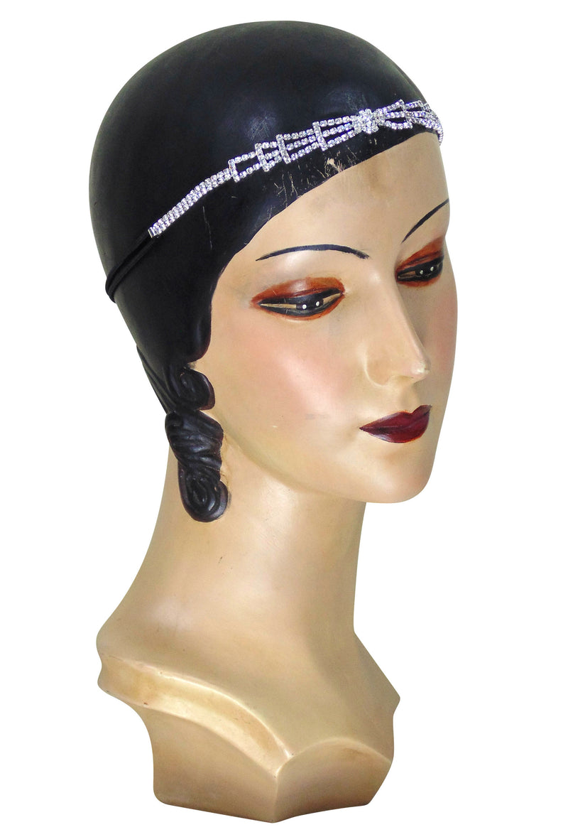 Diamante Vintage Style 1920's Flapper Headband - The Deco Pyramid - The Deco Haus