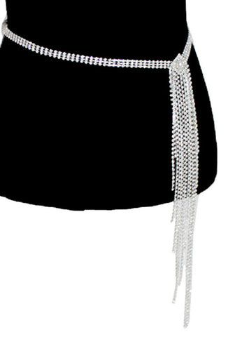 Diamante Rhinestone 1920's Style Flapper Fringe Evening Belt - The Deco Haus