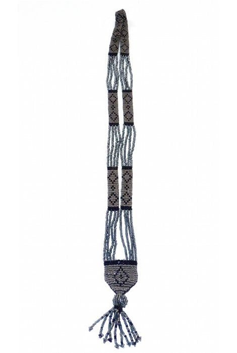 The Diamante Vintage Beaded 1920s Sautoir Necklace - Sterling Grey & Black - The Deco Haus
