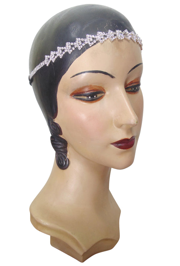 Diamante Vintage Style 1920's Flapper Headband - The Deco Arrow - The Deco Haus