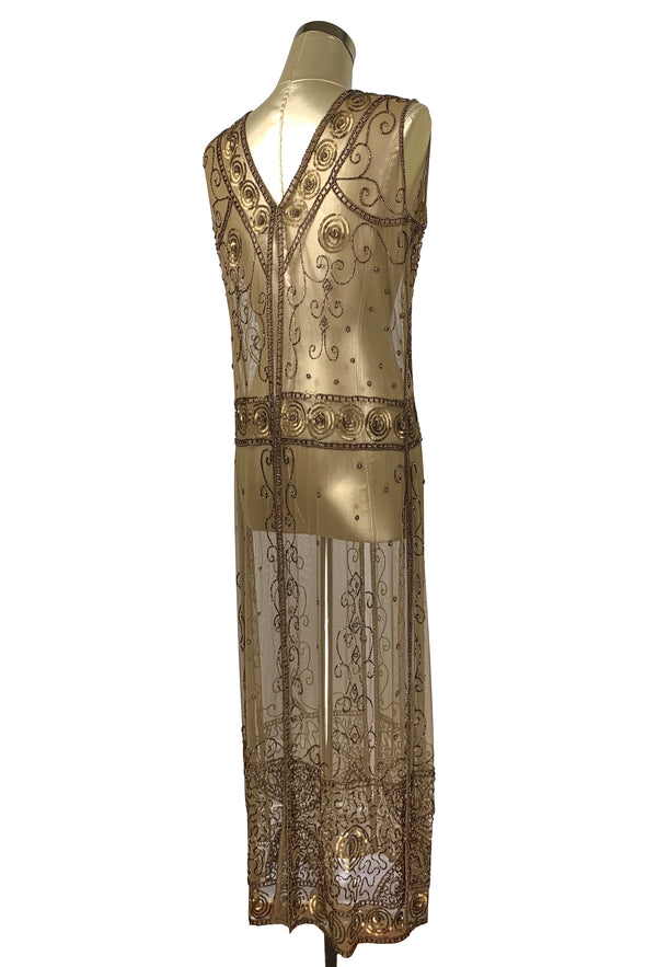 Antique Beaded Tabard Edwardian Hooked Panel Gown - The Viscountess - Bronze - The Deco Haus