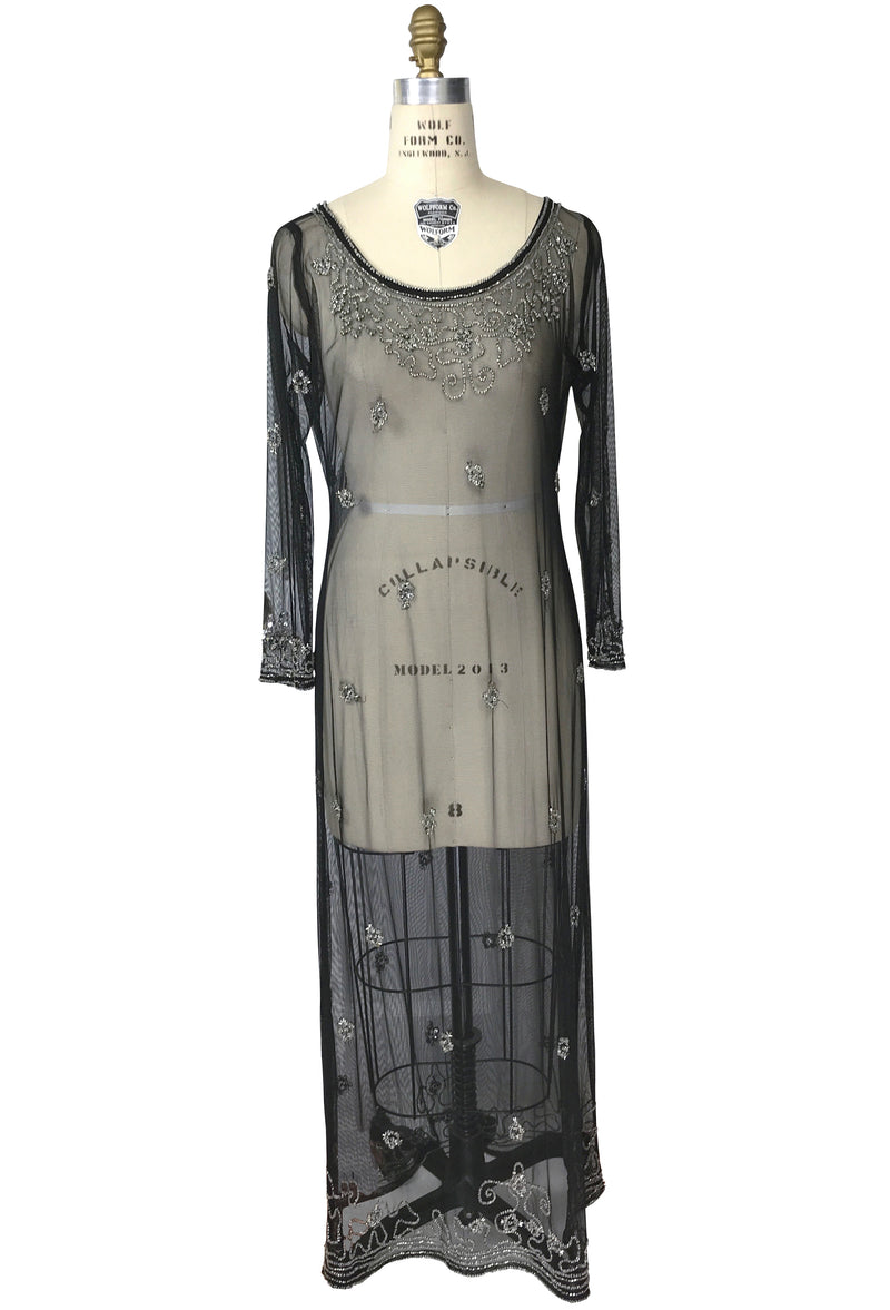 Edwardian Inspired Vintage Mesh Beaded Tunic Dress - Black Silver - The Deco Haus