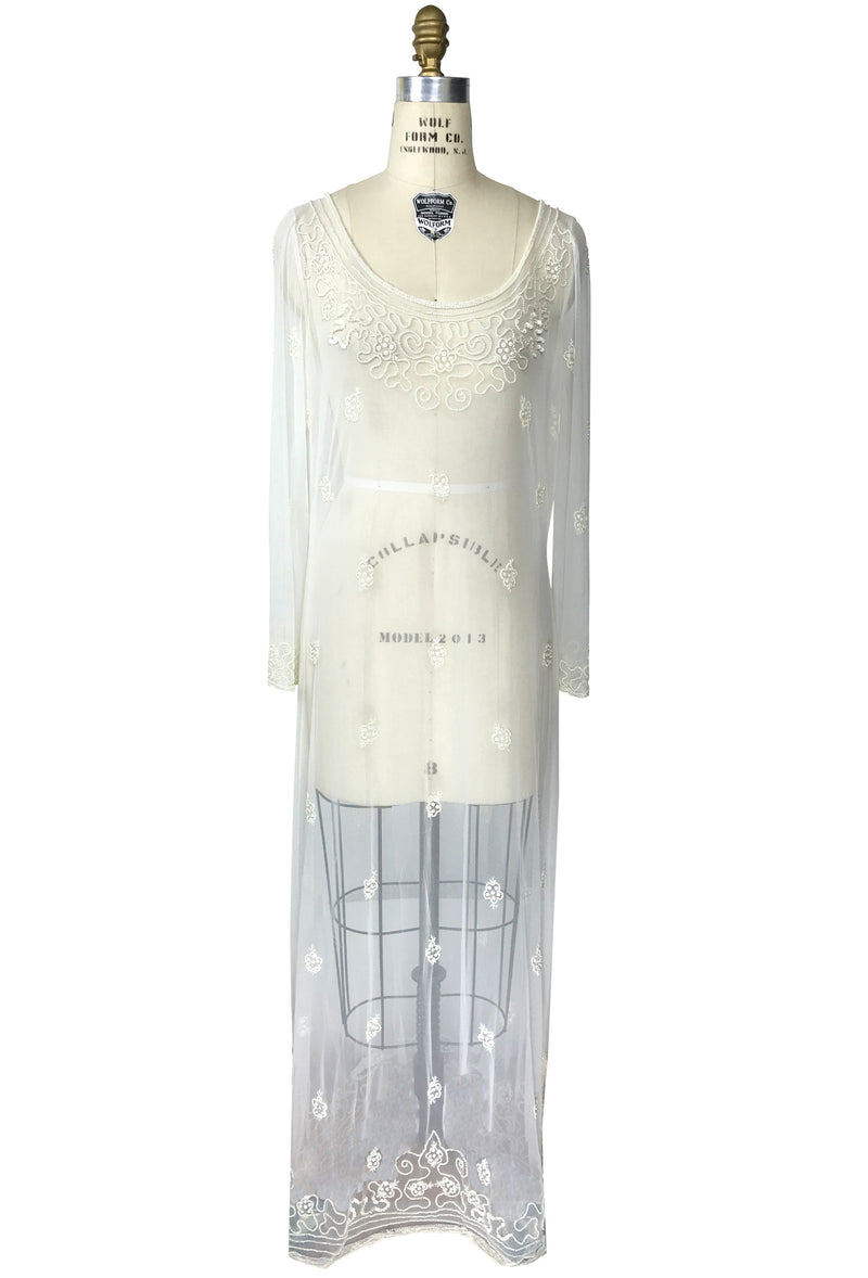 Edwardian Inspired Vintage Mesh Beaded Tunic Dress - White Pearl - The Deco Haus