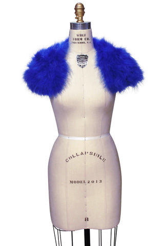 The Parisian Luxury Ostrich Vintage Feather Shrug Wrap - Electric Blue - The Deco Haus