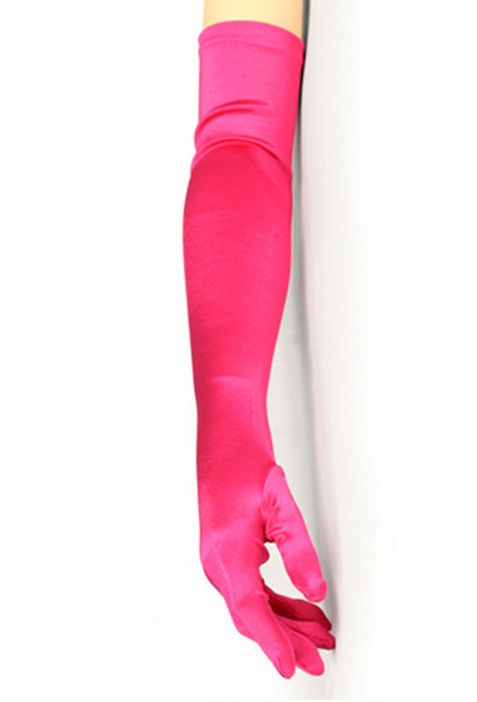 Vintage Style Satin Long Opera Evening Glove - Electric Pink - The Deco Haus