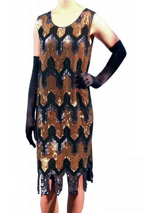1920's Flapper Art Deco Vintage Sequin Party Dress - The Metro - The Deco Haus