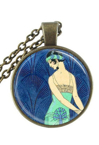 The 1920's Glass Cabochon Necklace - George Barbier Flapper