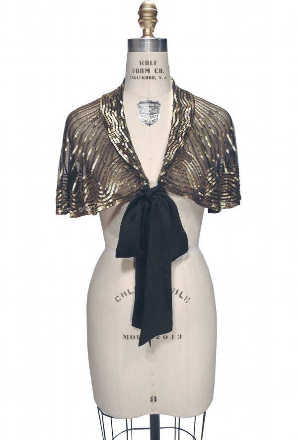 1920s Beaded Silk Bow Flapper Capelet - The Garbo - Gold on Jet - The Deco Haus