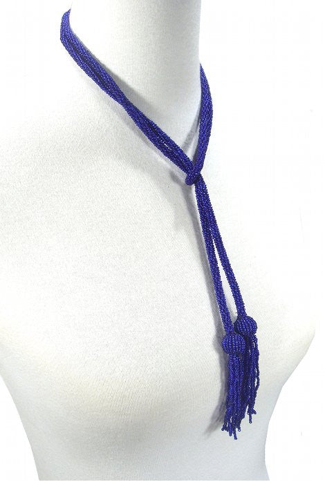 The Gatsby Rope Flapper 1920's Belt Necklace -  Cobalt Blue - The Deco Haus