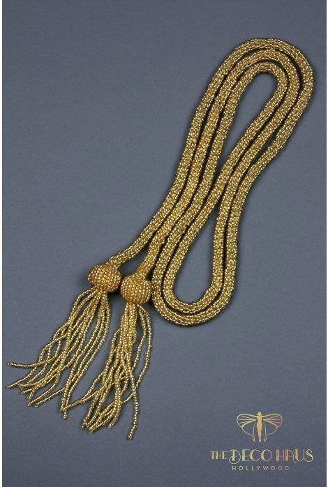 The Gatsby Rope Flapper 1920's Belt Necklace - Gold - The Deco Haus