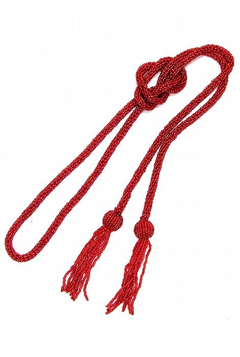 The Gatsby Rope Flapper 1920's Belt Necklace - Ruby - The Deco Haus