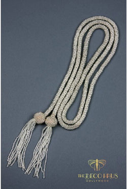The Gatsby Rope Flapper 1920's Belt Necklace - Silver - The Deco Haus