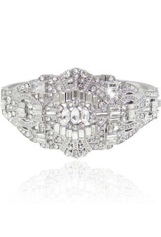 Gatsby Vintage 1920's Style Diamante Bracelet - Deco Silver Bangle - The Deco Haus