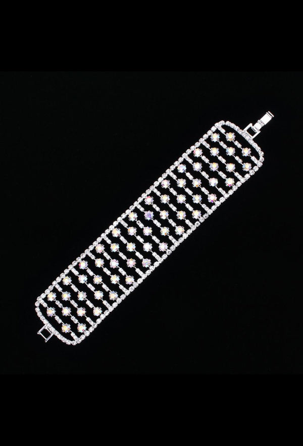 Gatsby Vintage 1920's Style Wide Diamante Bracelet - The Dynasty - The Deco Haus