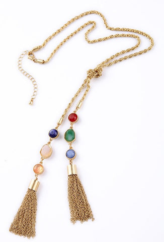 The Art Deco Crystal Tassel Necklace