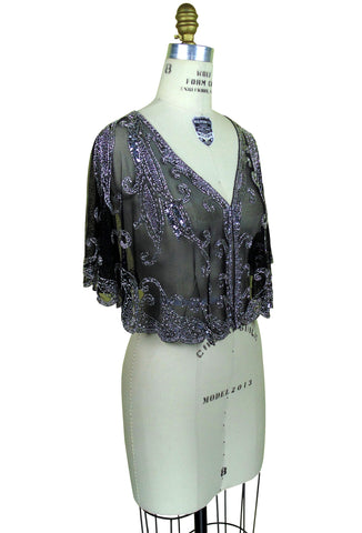 1920's Beaded Vintage Glamour Shawl Capelet - The Claudette - Black Silver - The Deco Haus