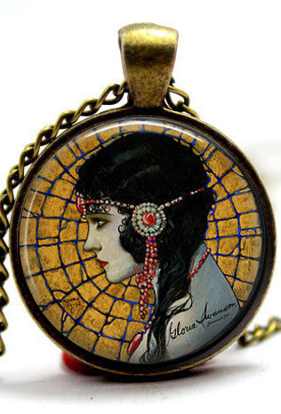 The 1920's Glass Cabochon Necklace - Gloria Swanson
