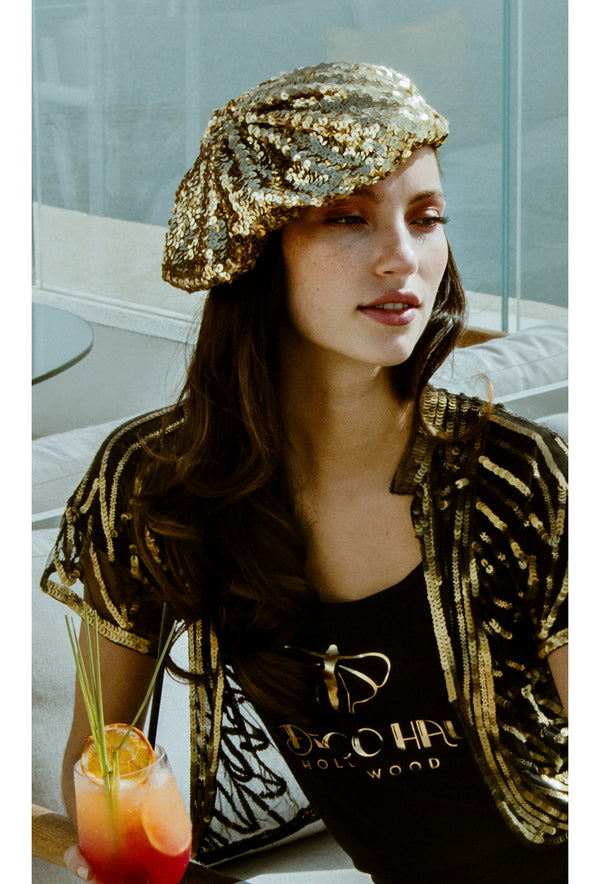 Super Chic Deco Sequin 1920's Style French Beret - Gold - The Deco Haus